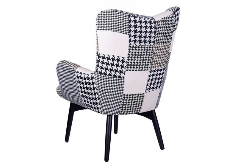 fauteuil r tro patchwork noir et blanc 78 x 84 x 100 cm aixi 20816. Black Bedroom Furniture Sets. Home Design Ideas