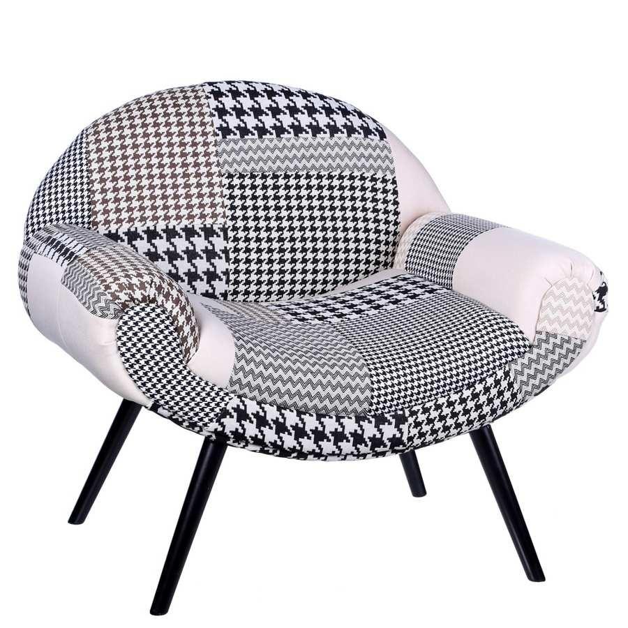 affordable fauteuil scandinave patchwork fauteuil incurv patchwork noir et blanc x x cm with. Black Bedroom Furniture Sets. Home Design Ideas
