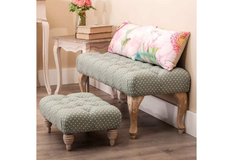 petite banquette en tissu pois vert et naturel 52 x 35 x 25 cm au. Black Bedroom Furniture Sets. Home Design Ideas