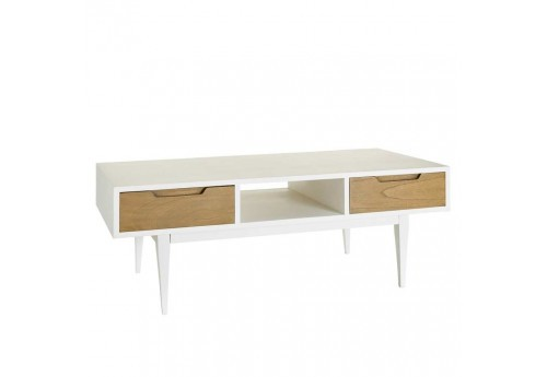 Table basse scandinave en bois blanc et naturel 120 X 60 X 45 Cm