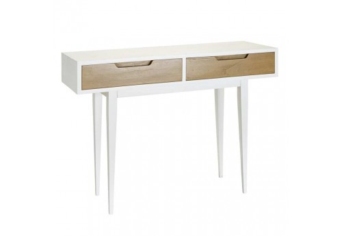 console scandinave 2 tiroirs naturel blanc bois 100 x 35 x 75 cm ai. Black Bedroom Furniture Sets. Home Design Ideas