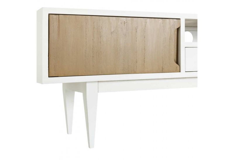 Meuble de t l vision scandinave naturel blanc 150 x 35 x - Meuble tv 150 cm blanc ...