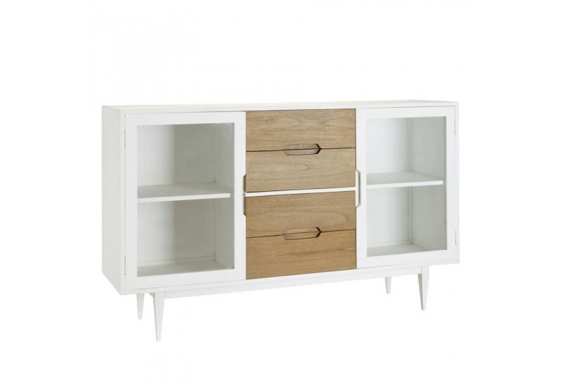 buffet bas scandinave naturel blanc 160 x 45 x 100 cm aixi 20857. Black Bedroom Furniture Sets. Home Design Ideas
