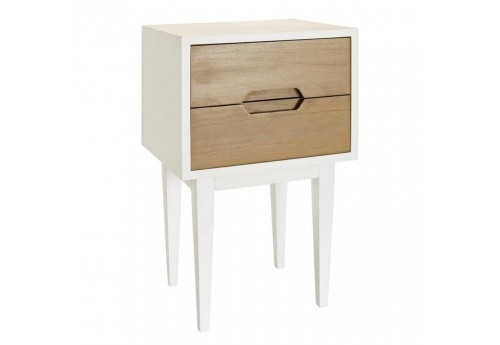 Table de chevet scandinave 2 Tiroirs Naturel-Blanc 40 X 35 X 65 Cm