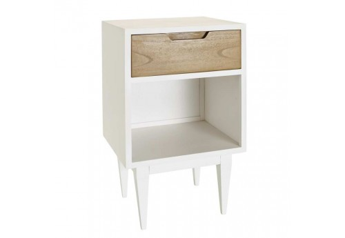 Table de chevet 1 Tiroir Naturel-Blanc Bois 40 X 35 X 65 Cm
