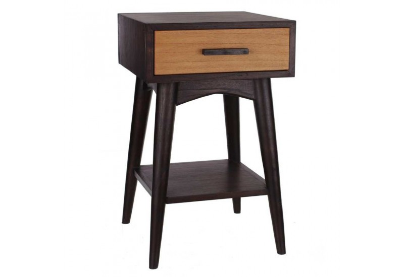 Table de chevet 1 tiroir r tro naturel et weng 40 x 40 x - Table de chevet wenge ...