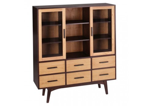 biblioth que 2 portes r tro naturel et weng 130 x 40 x 155 cm aixi. Black Bedroom Furniture Sets. Home Design Ideas
