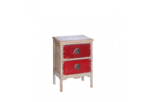 table de chevet 2 tiroirs en bois exotique patin rouge et. Black Bedroom Furniture Sets. Home Design Ideas