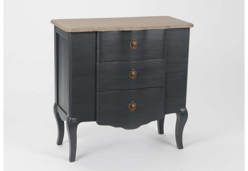 commode noir galb e en bois c rus gris fonc c lestine amadeus 21086. Black Bedroom Furniture Sets. Home Design Ideas