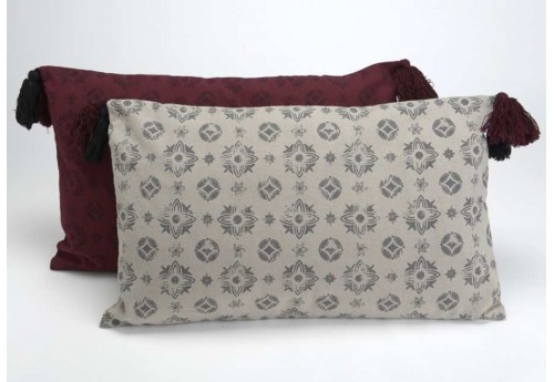 Coussin déhoussable chic gris et grenat Flamand 30X50 cm lot de 2