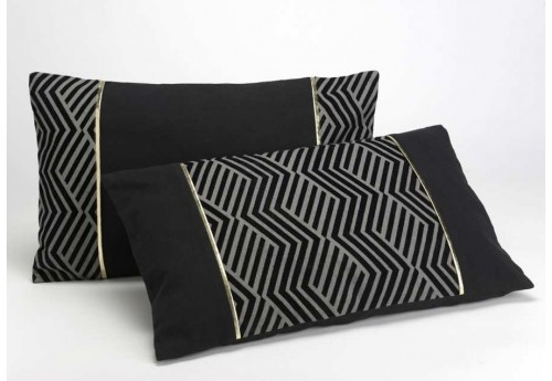 Coussin déhoussable chic rectangle noir et or Tuxedo 30X50 cm lot de 2
