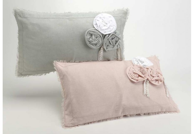 coussin d houssable gris et rose fleur 30x50 cm lot de 2 amadeus 21209. Black Bedroom Furniture Sets. Home Design Ideas