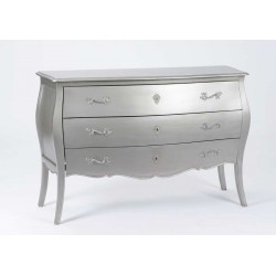 Grande commode 3 tiroirs Murano New Silver
