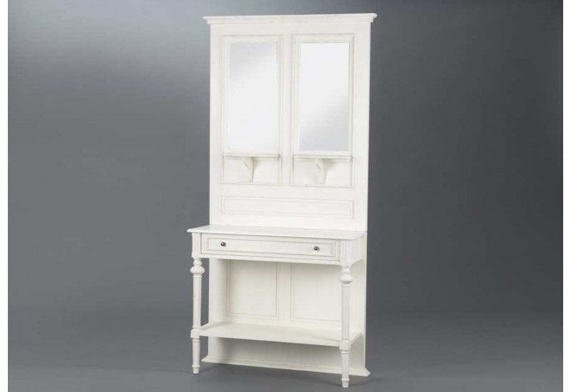 meuble d 39 entr e chic patin e blanc avec miroir perle amadeus 21502. Black Bedroom Furniture Sets. Home Design Ideas