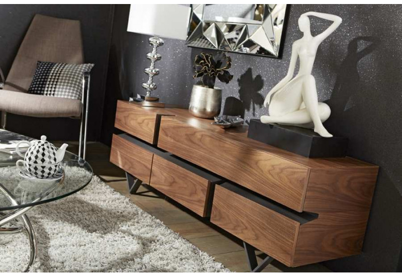 meuble tv moderne canyon m tal et bois amadeus am 116692. Black Bedroom Furniture Sets. Home Design Ideas