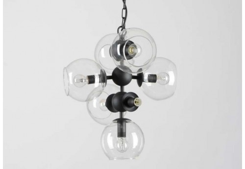 Suspension moderne 7 branches bulles en verre