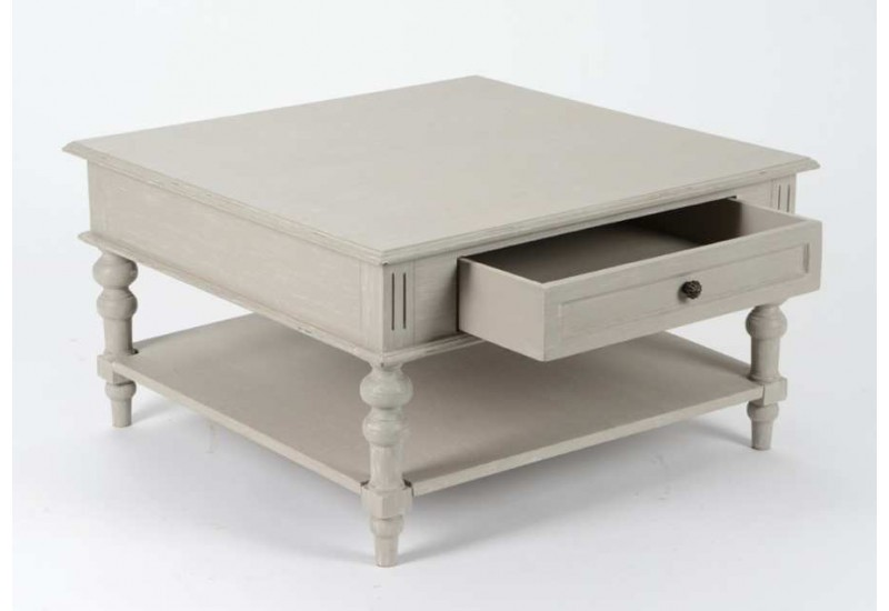table basse carr 2 plateaux 1 tiroirs patin e lin pivoine amadeus. Black Bedroom Furniture Sets. Home Design Ideas
