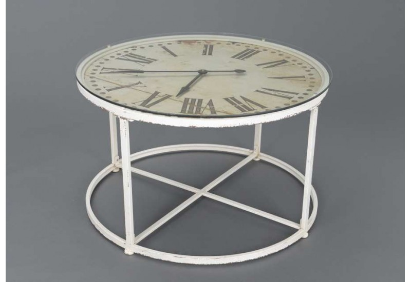 table basse horloge m tal blanc amadeus 21701. Black Bedroom Furniture Sets. Home Design Ideas