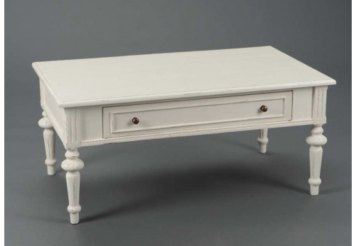 table basse rectangulaire chic blanche 1 tiroir perle amadeus 21704. Black Bedroom Furniture Sets. Home Design Ideas