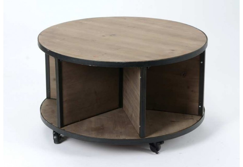 table basse ronde industriel roulettes 80 cm amadeus 21712. Black Bedroom Furniture Sets. Home Design Ideas