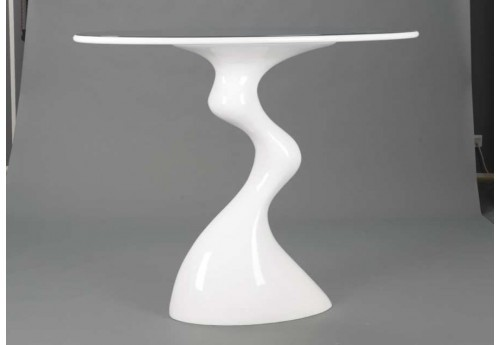 Table de bar rond moderne blanc en fibre de verre