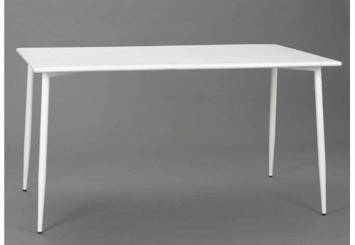 Table rectangulaire scandinave en acier blanc Epoxy