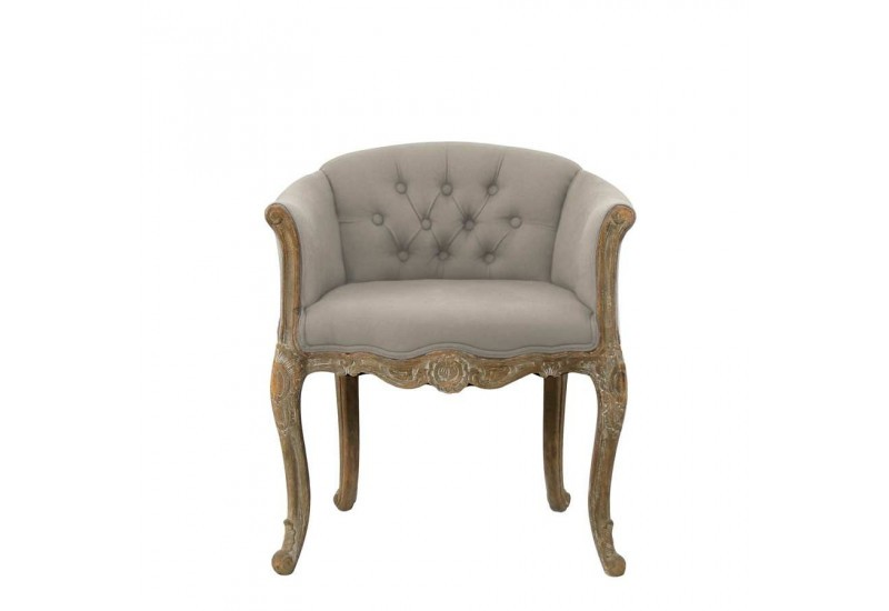fauteuil bergre boutons chne taupe 63x58x69cm - Fauteuil Bergere