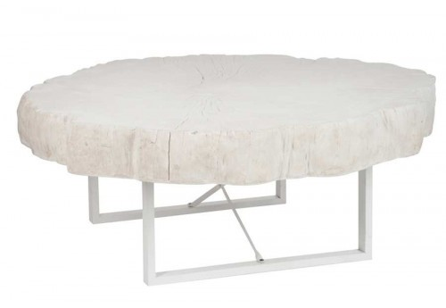 Table basse ronde nature Blanche 117X107X43Cm