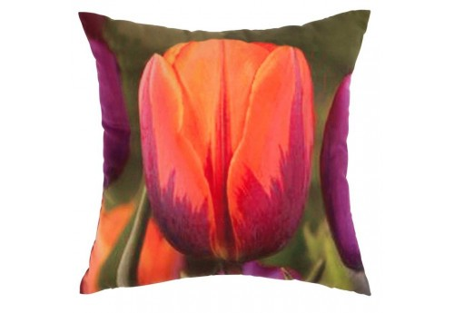 Coussin déhoussable Tulipe orange 45X45Cm
