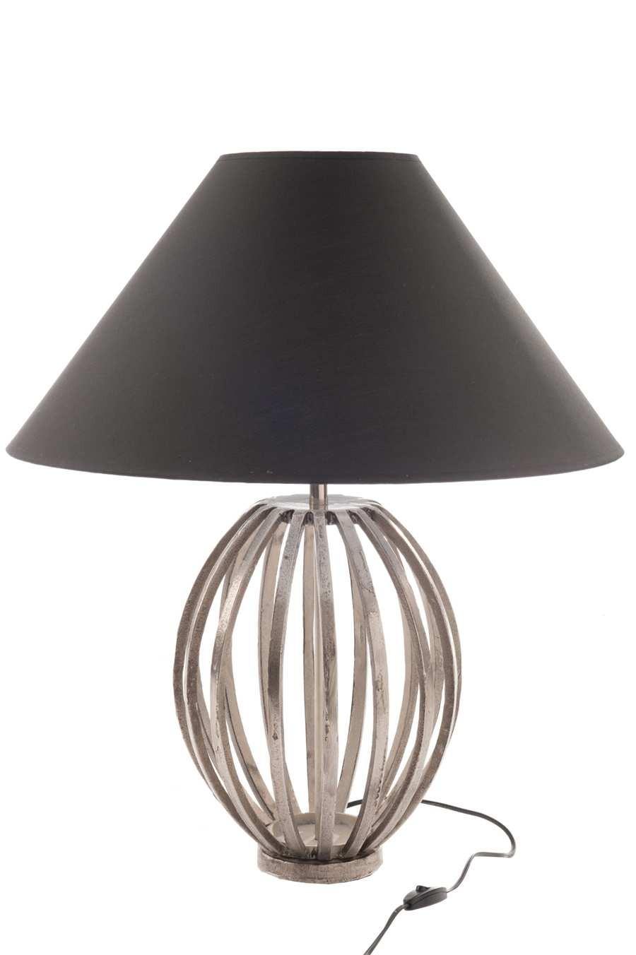 Lampe Potiron En M Tal Argent Et Abat Jour Noir 29x43cm J Line By  # Meuble Tv Potiron