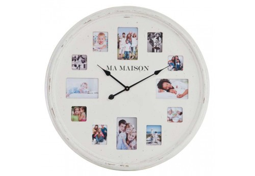 horloge ma maison avec cadre photo en bois blanc 78x5 5cm j line by. Black Bedroom Furniture Sets. Home Design Ideas