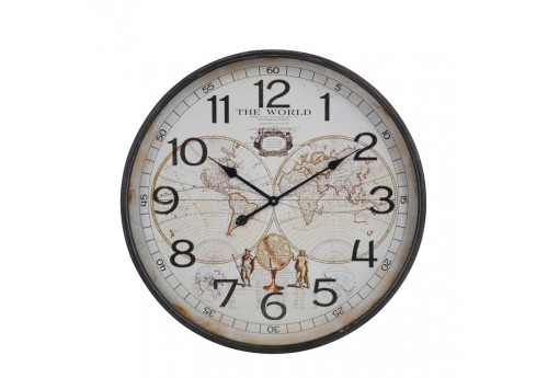 Horloge ronde The World en métal marron 66X68X8,5Cm