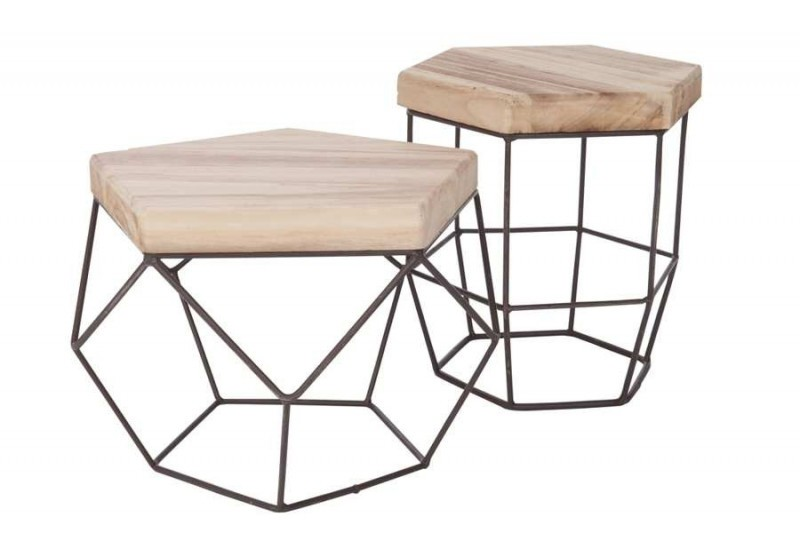 Table d 39 appoint moderne en m tal et plateau bois massif for Table basse en metal scandinave