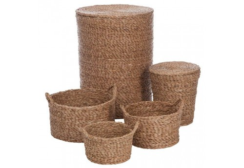 Set de 5 paniers en Jacinthe d'eau Naturel 46X58Cm Lot de 2