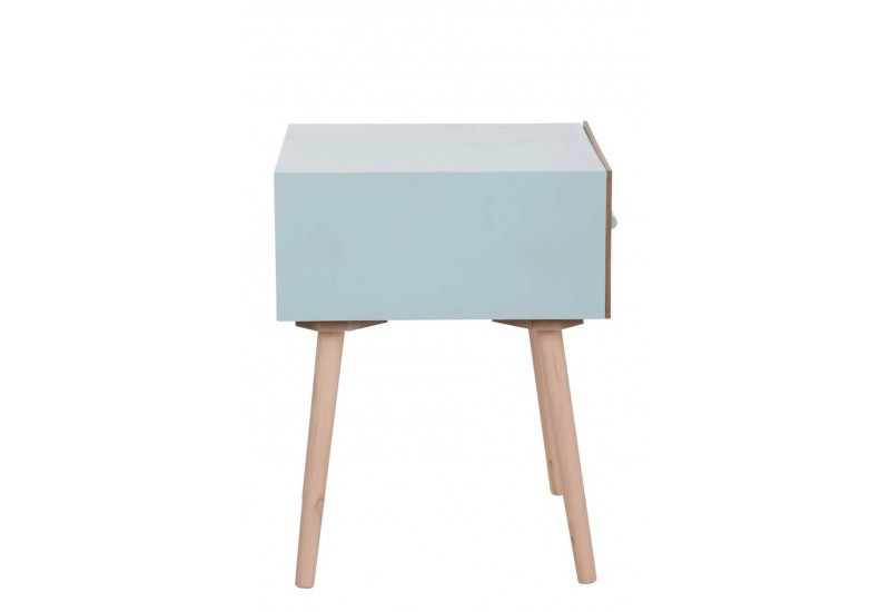 table de chevet 1 tiroir scandinave en bois bleu aqua et naturel 40. Black Bedroom Furniture Sets. Home Design Ideas
