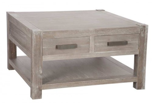 Table basse carré Léon en bois Naturel 80X80X45Cm