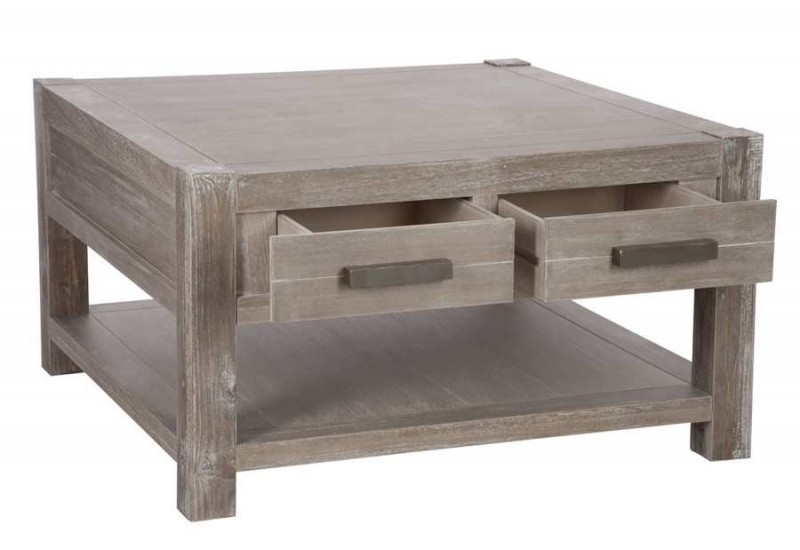 Table basse carr l on en bois naturel 80x80x45cm j line by jolipa - Table basse carre bois ...