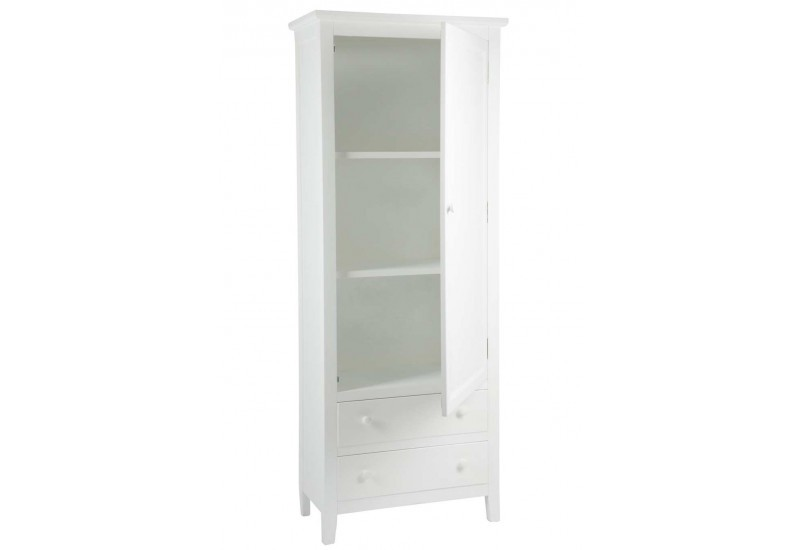 armoire blanche classique chic 1 porte et 2 tiroirs 70x36x180cm j l. Black Bedroom Furniture Sets. Home Design Ideas