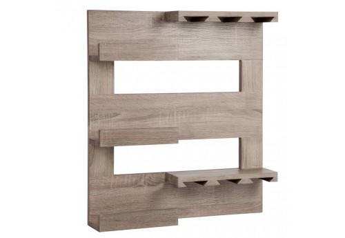etag re vin 6 verres 3 bouteille en bois naturel 60x12x65cm j lin. Black Bedroom Furniture Sets. Home Design Ideas