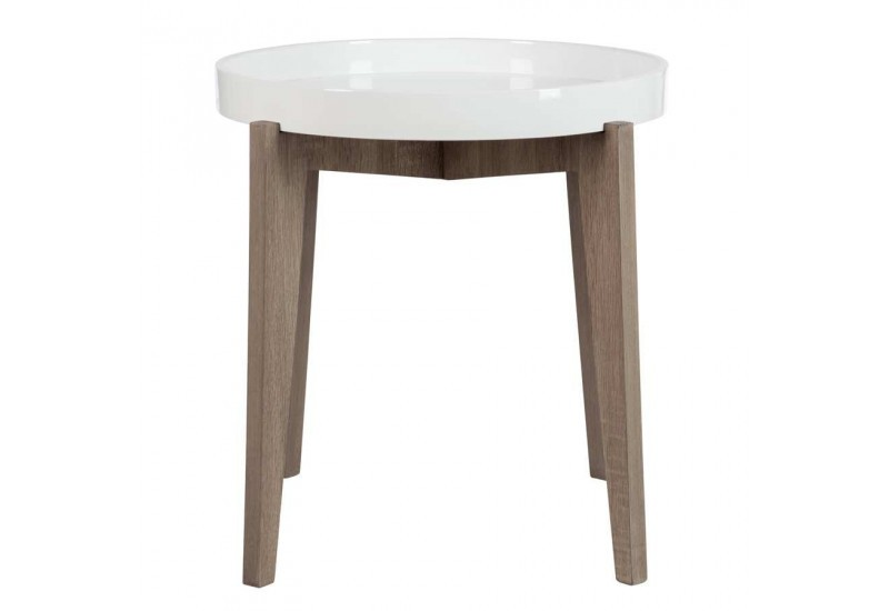 Table d 39 appoint ronde avec plateau en bois bicolore petit for Table ronde d appoint