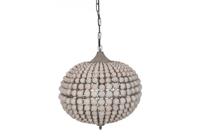 lustre boule en perles de bois patin naturel 50x50x155cm j line by. Black Bedroom Furniture Sets. Home Design Ideas