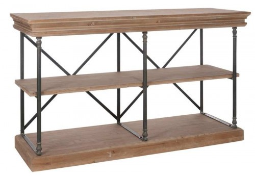 console drapier 3 planches m tal et bois bicolore153x53x88cm j line. Black Bedroom Furniture Sets. Home Design Ideas