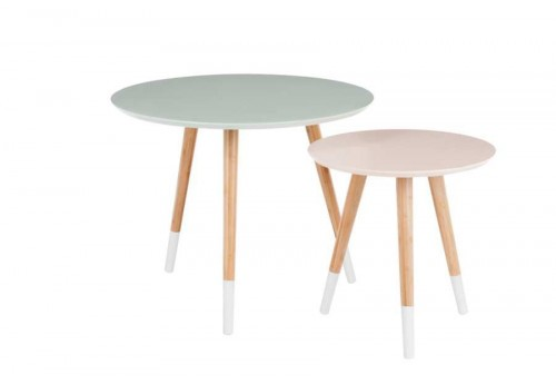 Ensemble de 2 tables gigogne scandinave vert et saumon 60X60X49Cm