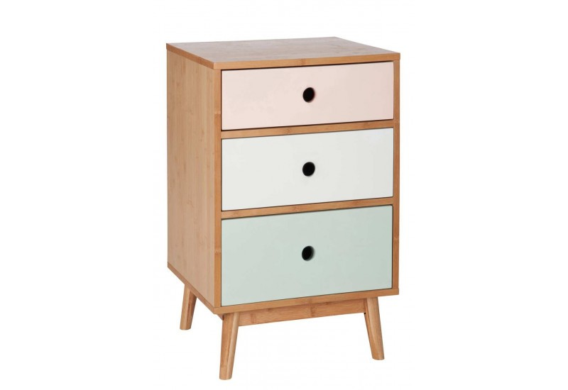 commode scandinave en bois multicolore 3 tiroirs. Black Bedroom Furniture Sets. Home Design Ideas