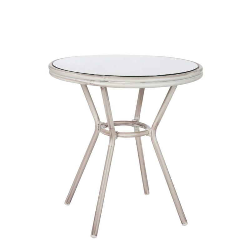 Table ronde hilda en aluminium grise 70x74cm j line by for Table ronde grise