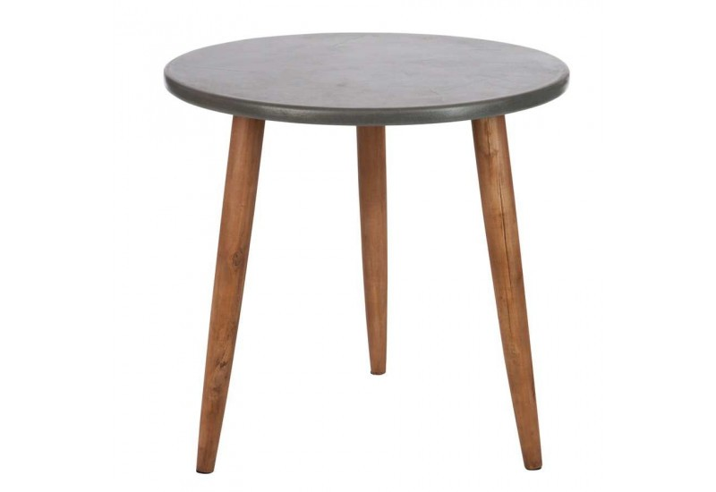 Table D Appoint Scandinave En Bois Gris Et Naturel 60x60x58cm J Lin