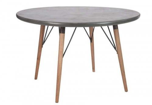 Table ronde scandinave en bois naturel plateau gris120X120X75Cm Lot de 2