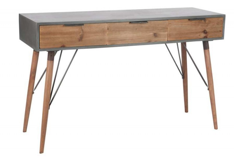 console scandinave 3 tiroirs en bois naturel et gris 122x40x77cm j. Black Bedroom Furniture Sets. Home Design Ideas