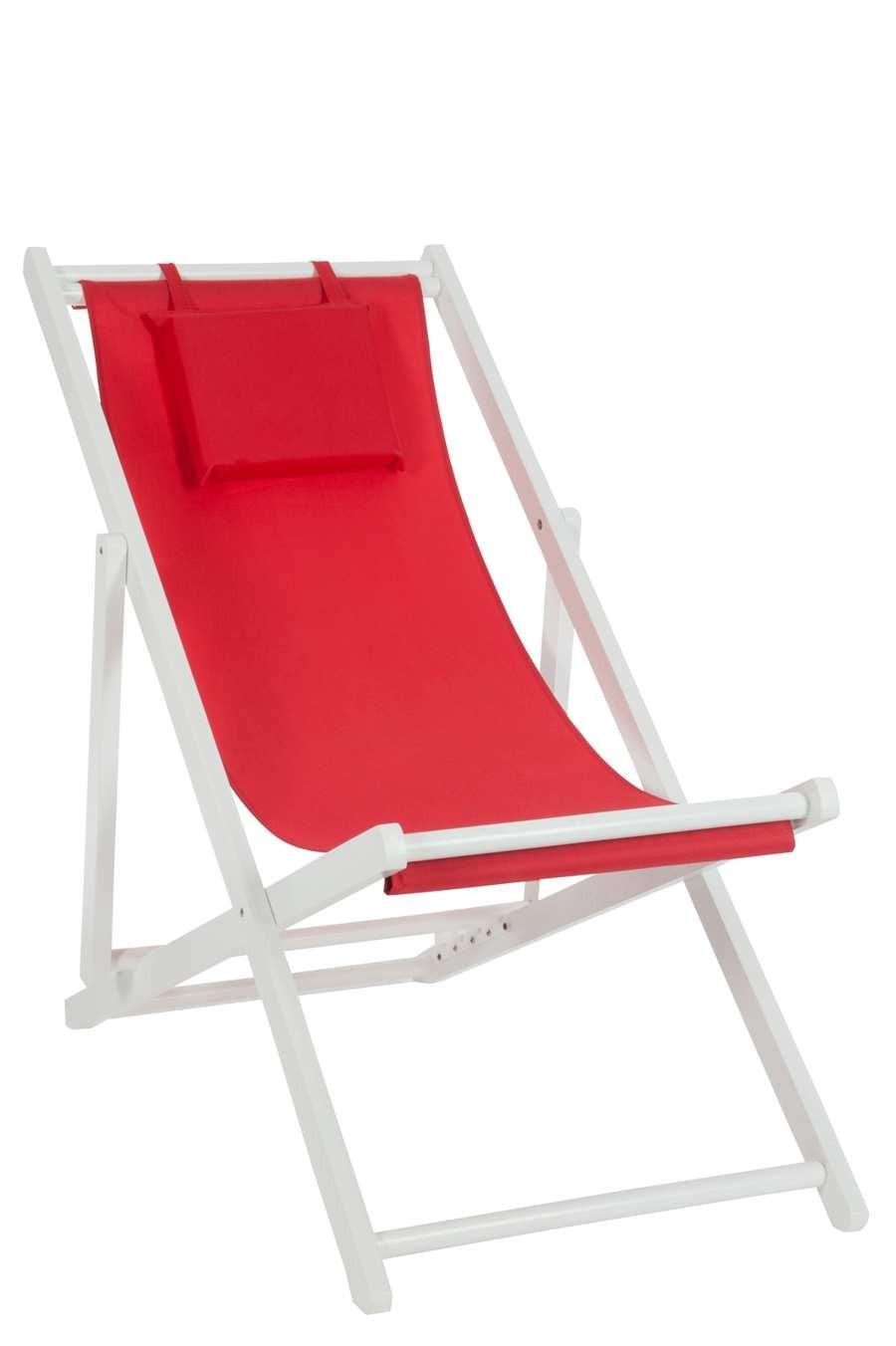 transat en bois blanc avec coussin en tissu rouge 58x105x94cm lot - Transat En Bois