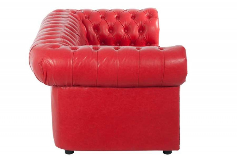 canap chesterfield 2 places en similicuir rouge. Black Bedroom Furniture Sets. Home Design Ideas